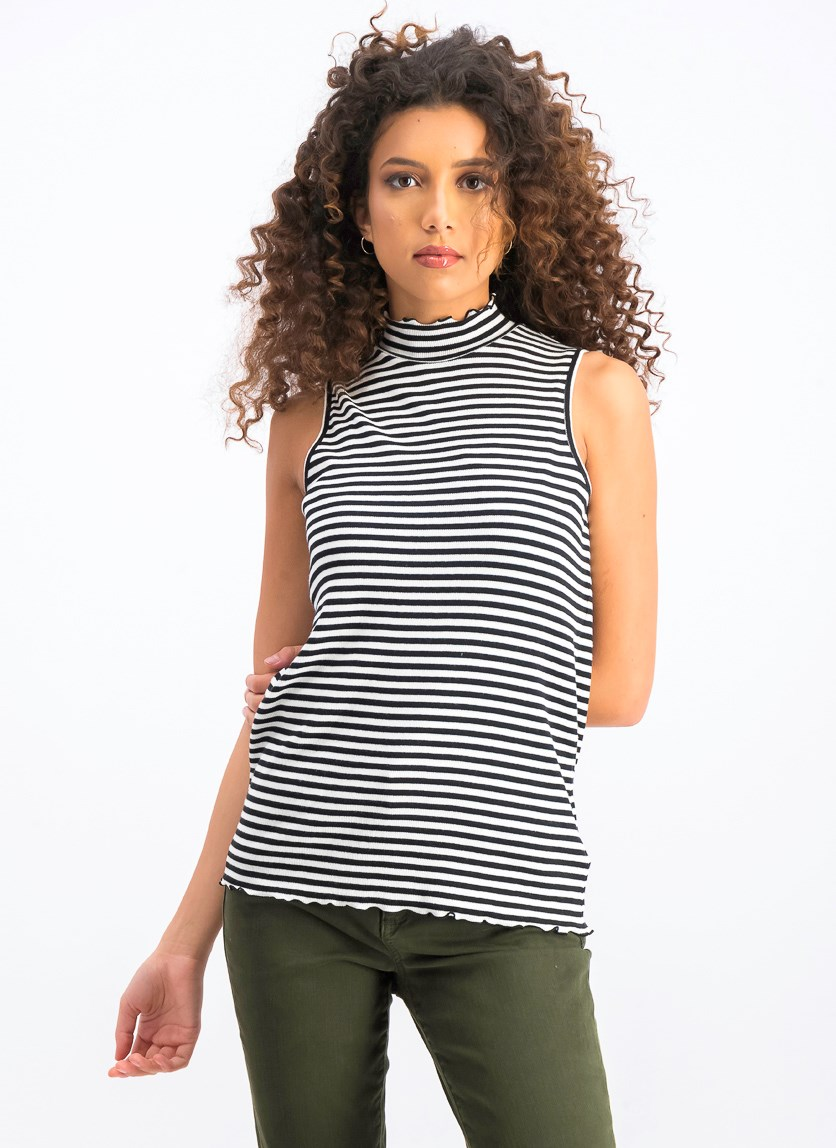 Women's Stripe Tank Top, Black/White