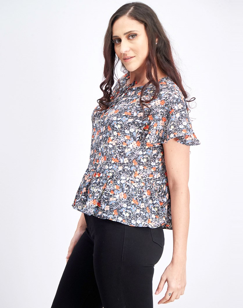 Women's allover Floral Print Blouse, Black Combo