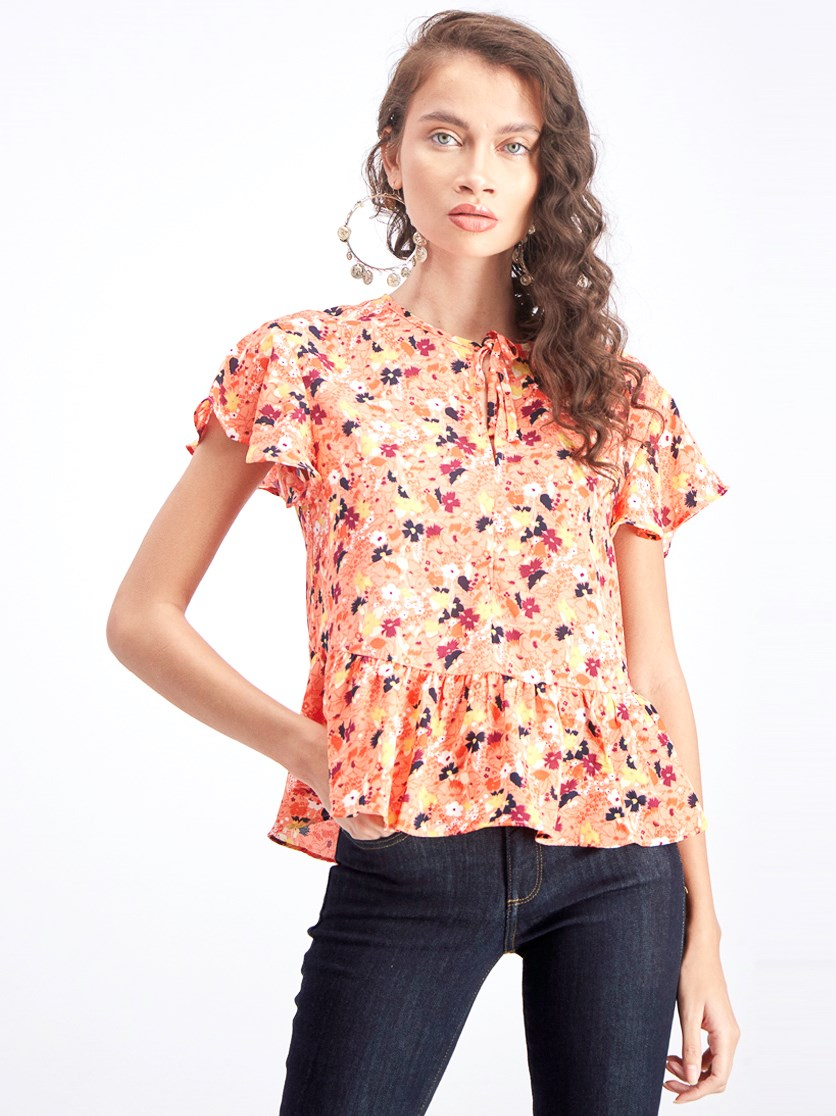 Women's Allover Floral Print Blouse, Orange