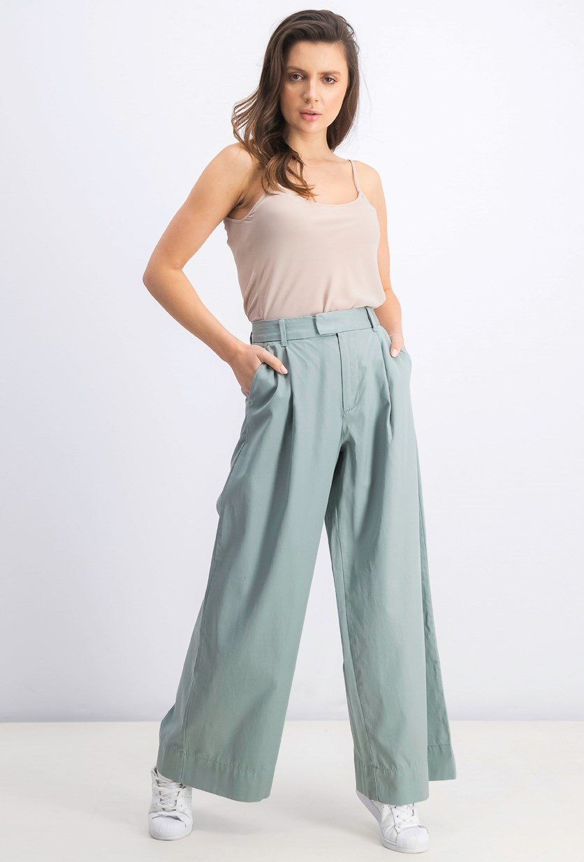 Women's Cropped Plain Pants, Sage