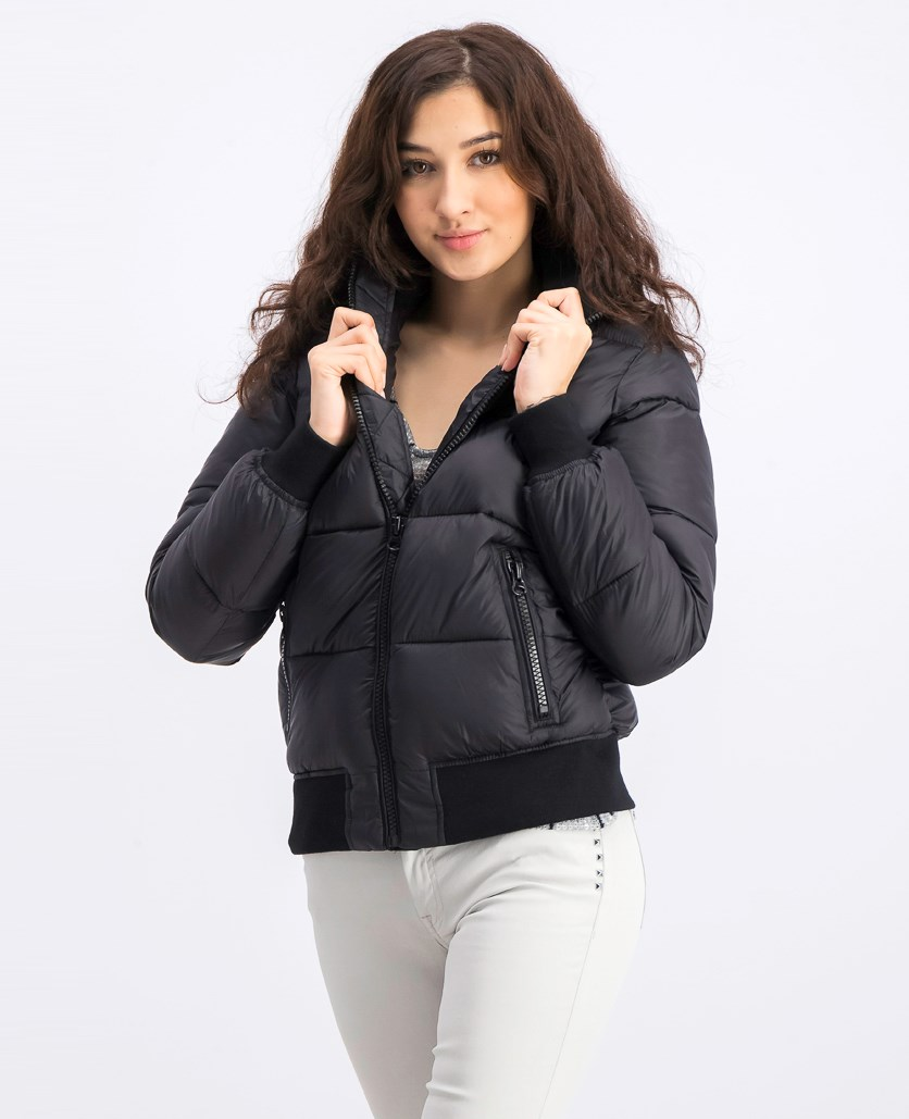 Women's Puffer Bomber Jacket, Black