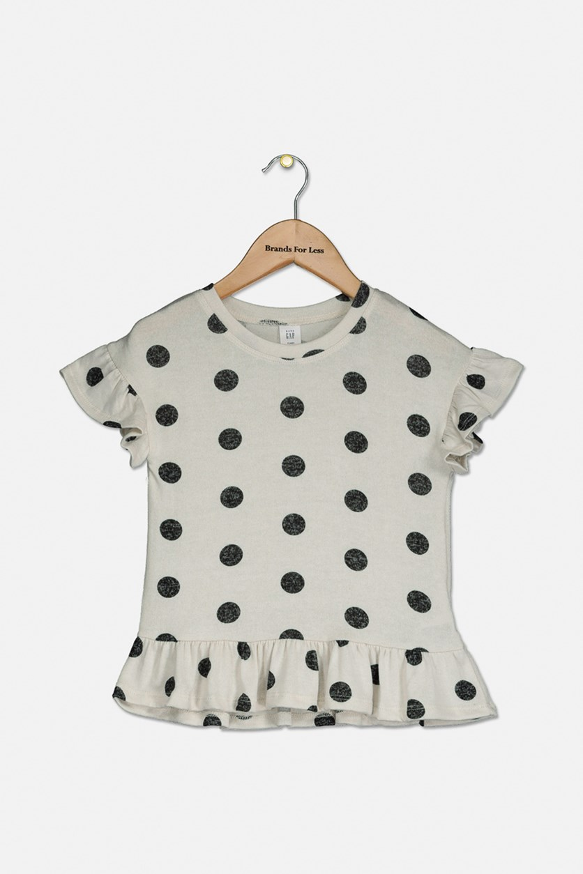 Toddler Girls Ruffle Short Sleeve Polka Dot Print Top, Cream