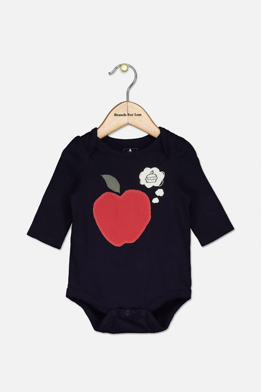 Toddler Girls Apple Details Print Bodysuit, Navy