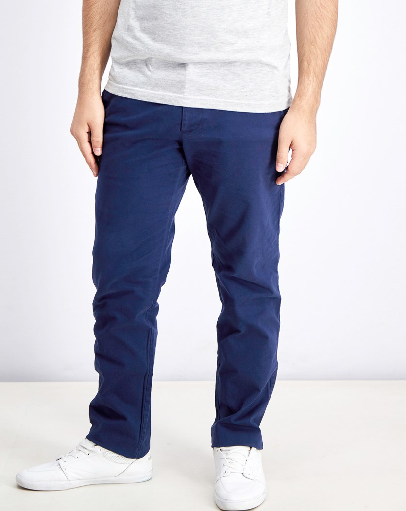 Men's Mid Rise Straight Cut Pants, Navy Blue