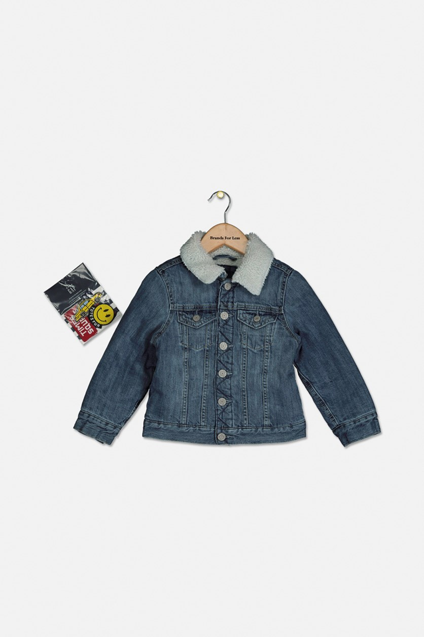 Toddler Girl Sherpa Denim Jacket, Denim Blue