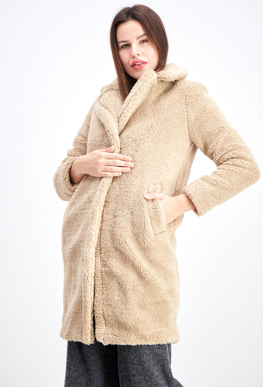 Women's Long Sherpa Coat, Light Brown