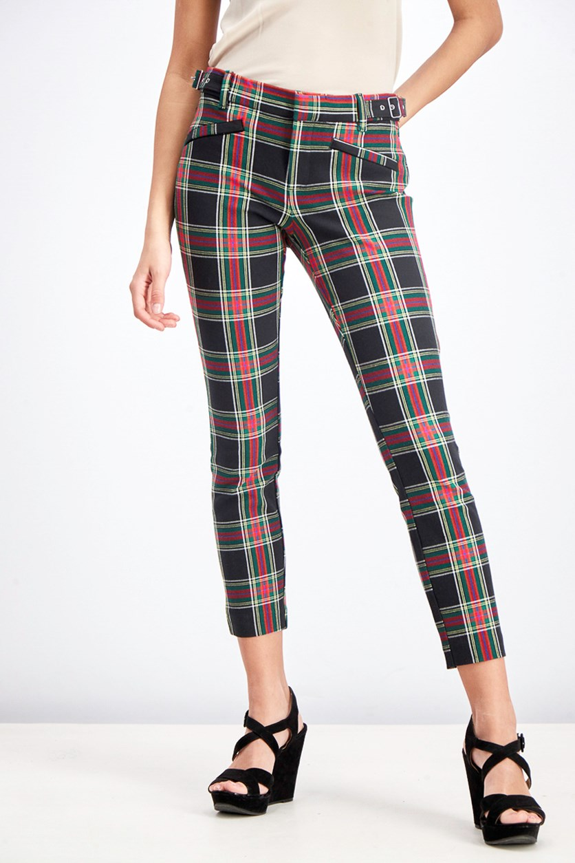 Women's Plaid Zippered Pocket Pants, Black/Red/Green