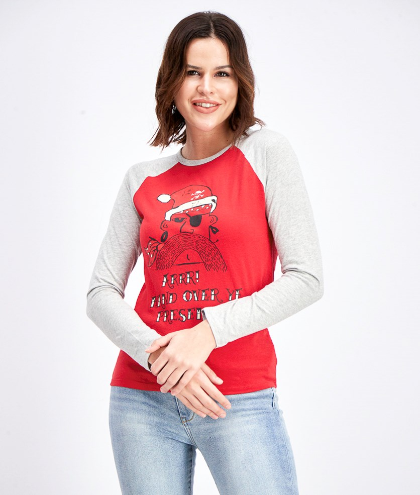 Women's Modern Graphic Longsleeves Top, Red/Grey