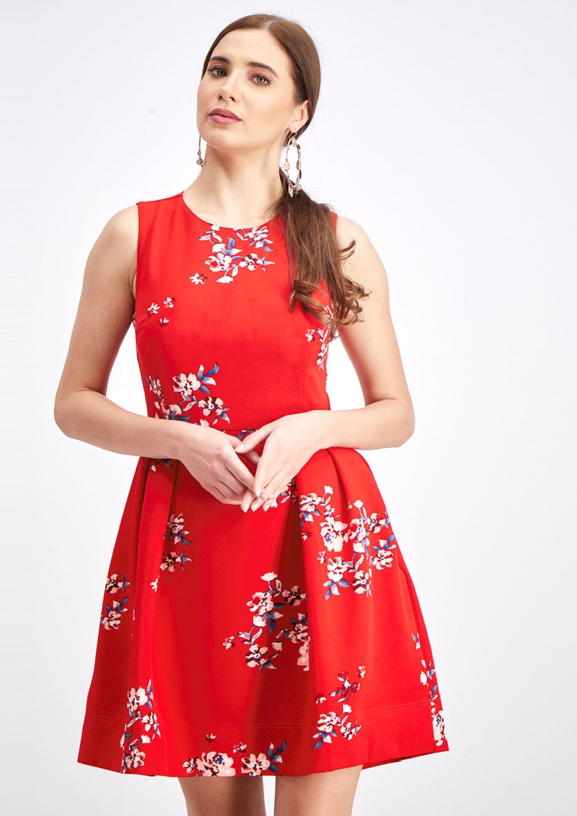 Women's Floral Dress, Red