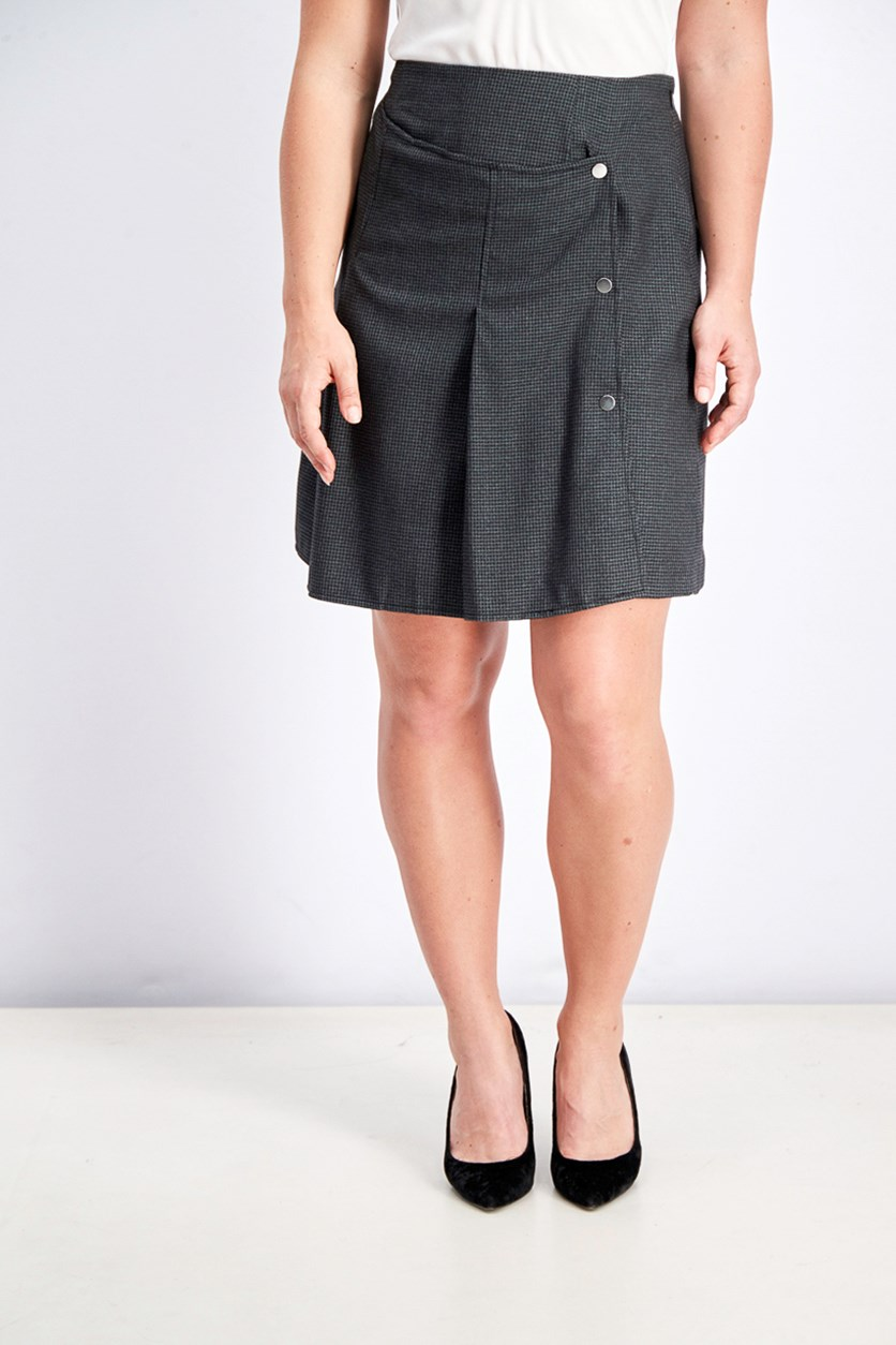 Women's Black Checkered Mini Skirt, Black