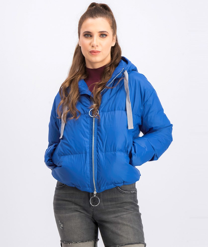 Women's Quilted Hoodie Jacket, Blue
