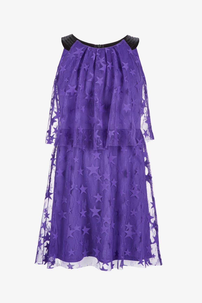Big Girls Popover Star-Mesh Dress, Ultra Violet