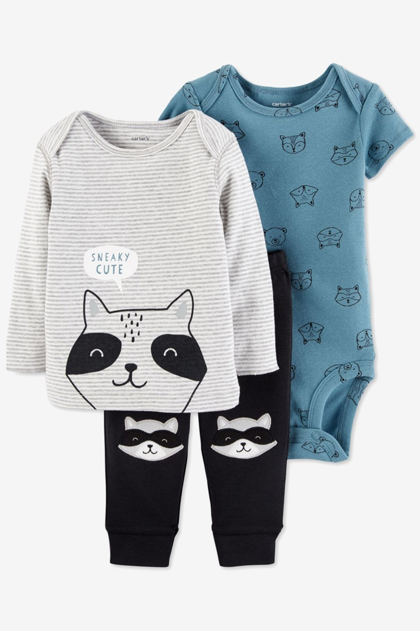Baby Boy's 3-Pc. Sneaky Cute Raccoon Cotton Top, Blue/Grey/Black