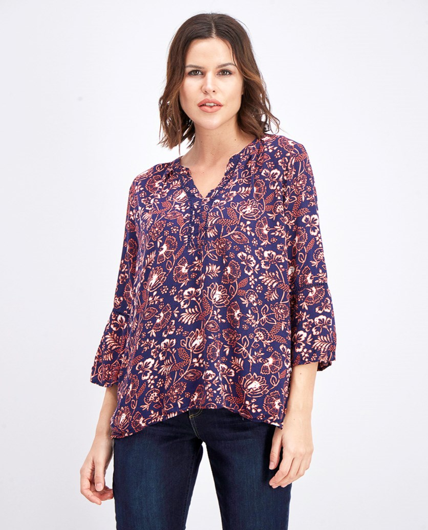 Women's Split Neck Blouse, Navy Combo
