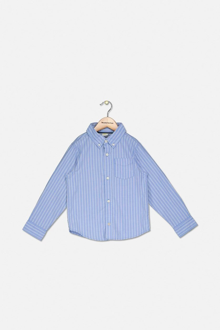 Kids Boys Button Down Stripe Shirt, Blue