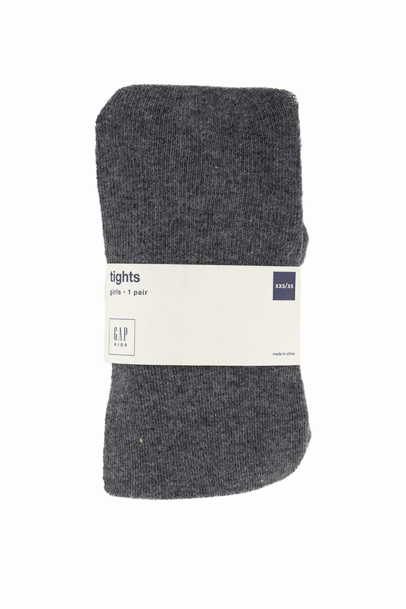 Kids Solid Cotton Tights, Heather Grey