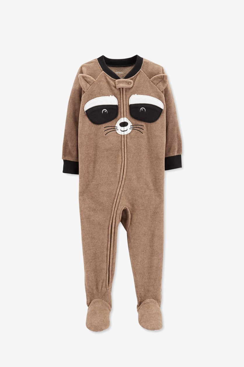 Fox Face Fleece Bodysuit Sleepwear, Brown