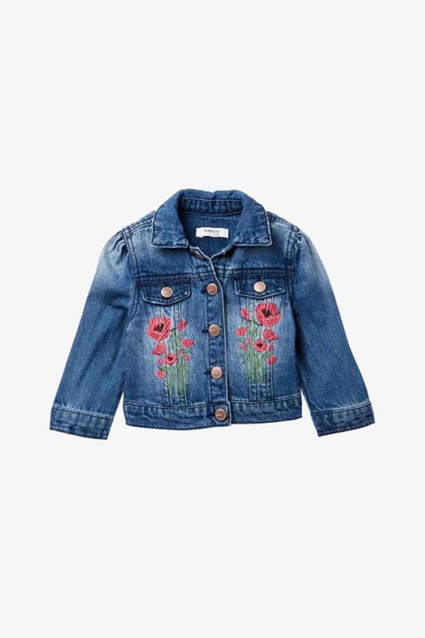 Kids Girl's Embroidered Denim Jacket, Med Stone