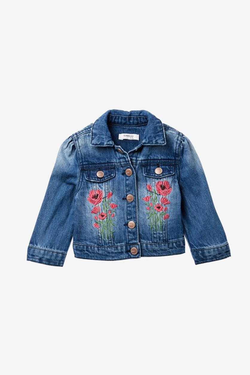Little Girl's Embroidered Denim Jacket, Med Stone
