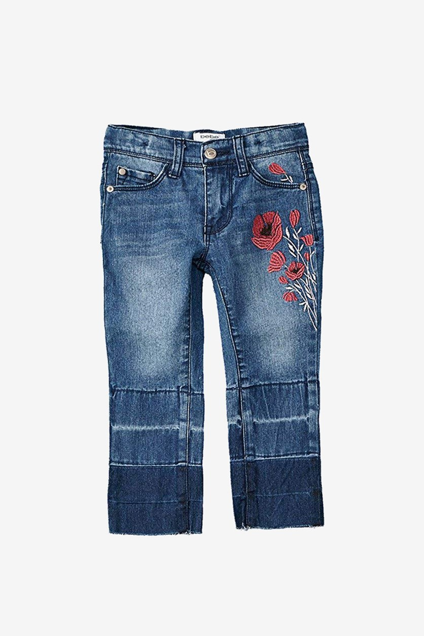 Kids Girls Cropped Straight Denim Jeans, Blue