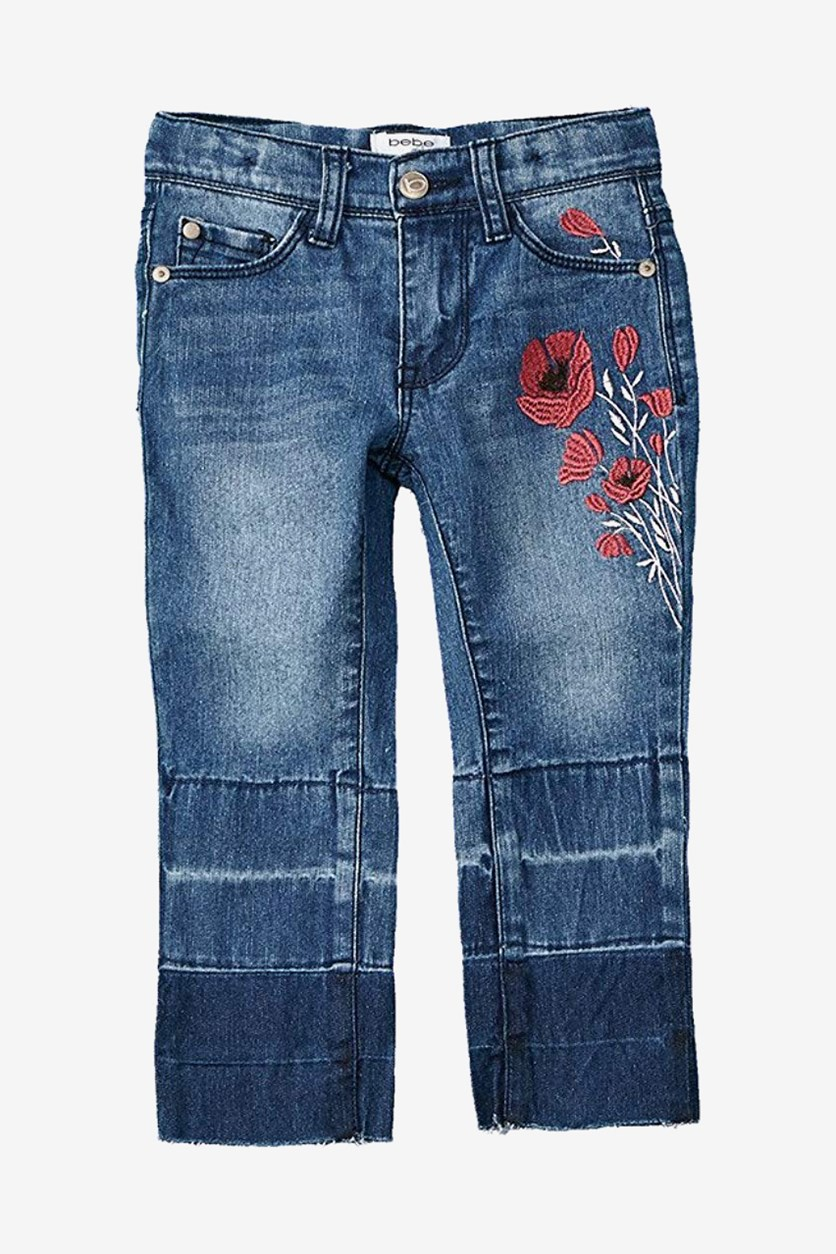 Little Girl's Embroidered Jeans, Med Stone