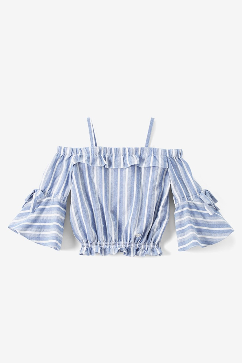 Girl's Striped Top, Blue/White