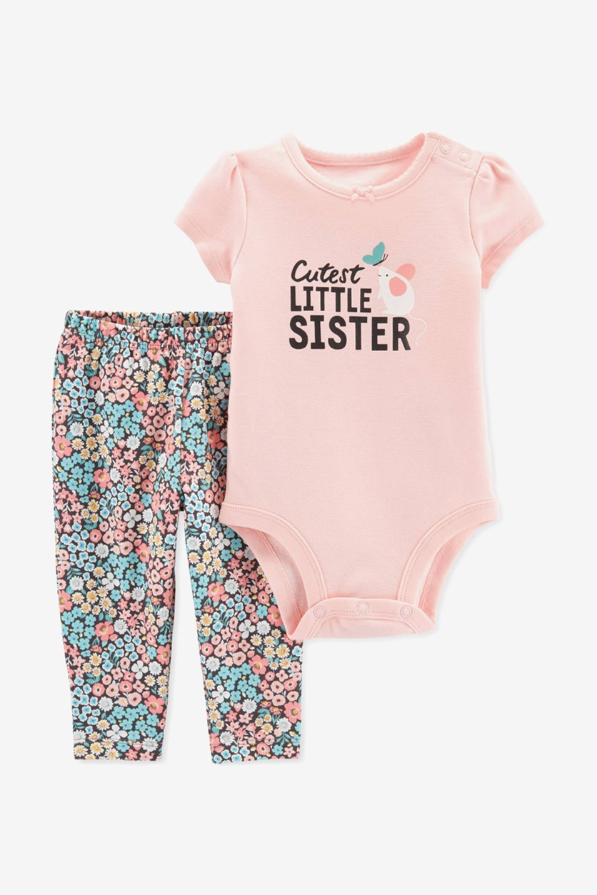Baby Girls 2-Pc. Graphic-Print Bodysuit &  Pants Set, Pink Combo