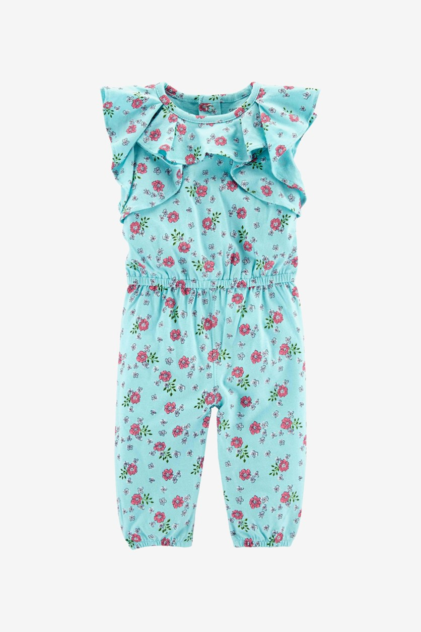 Baby Girl's Floral Ruffle Jumpsuit, Blue/Pink