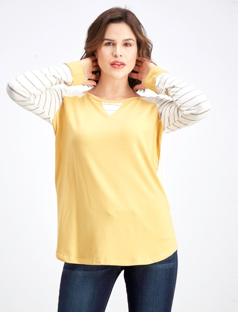 Women's Rachelyn Raglan Knit Top, Mustard/Grey