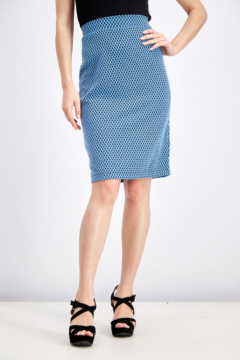 Women's Fabiola Textured Knit Pencil Skirt, Blue/Black