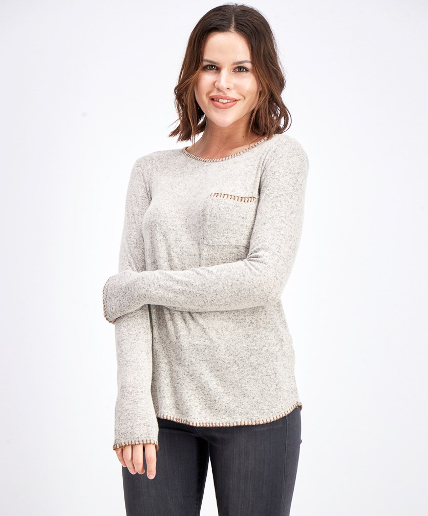 Women's Longoria Whipstitch Detail Brushed Knit Sweatshirt, Grey