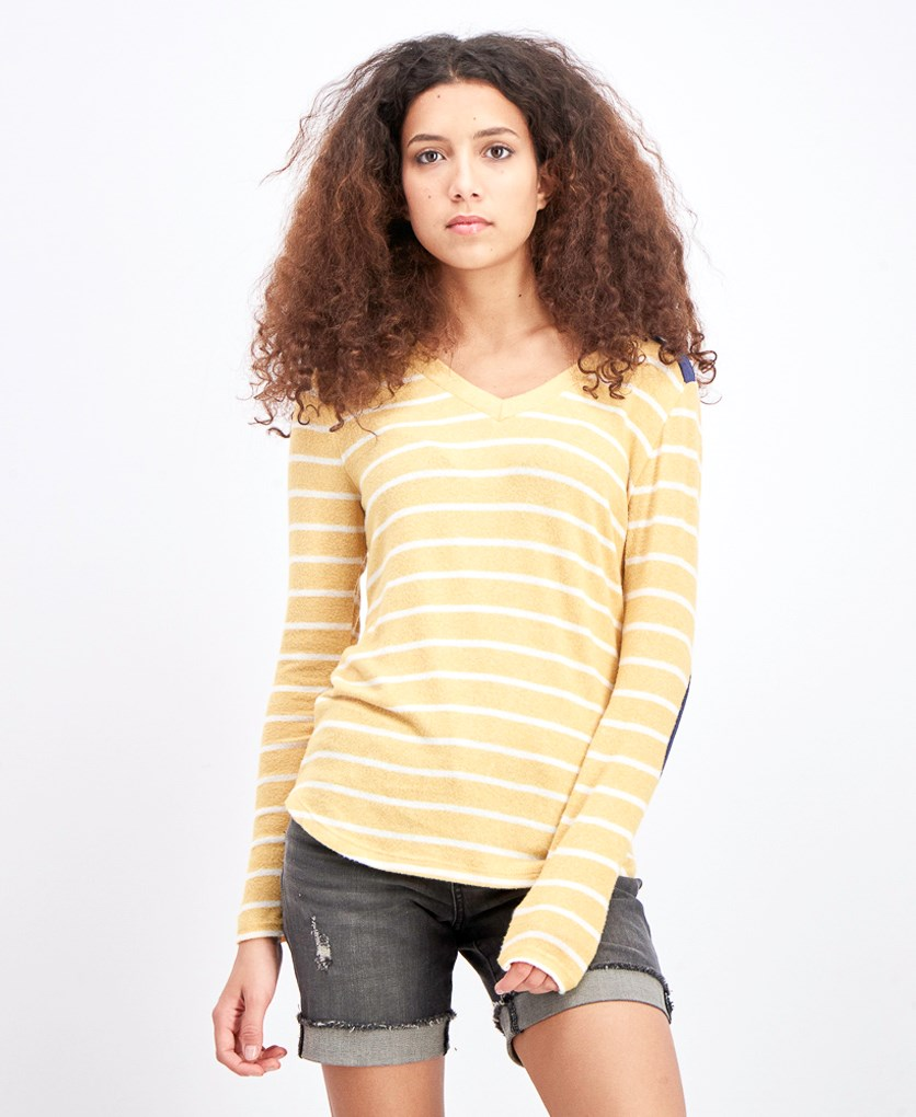 Women's Steph Brushed Elbow Patch Knit Top, Yellow/White