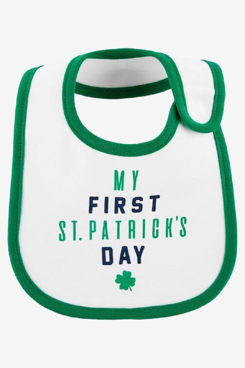 Baby Boy's St. Patrick's Day Bib, White/Green