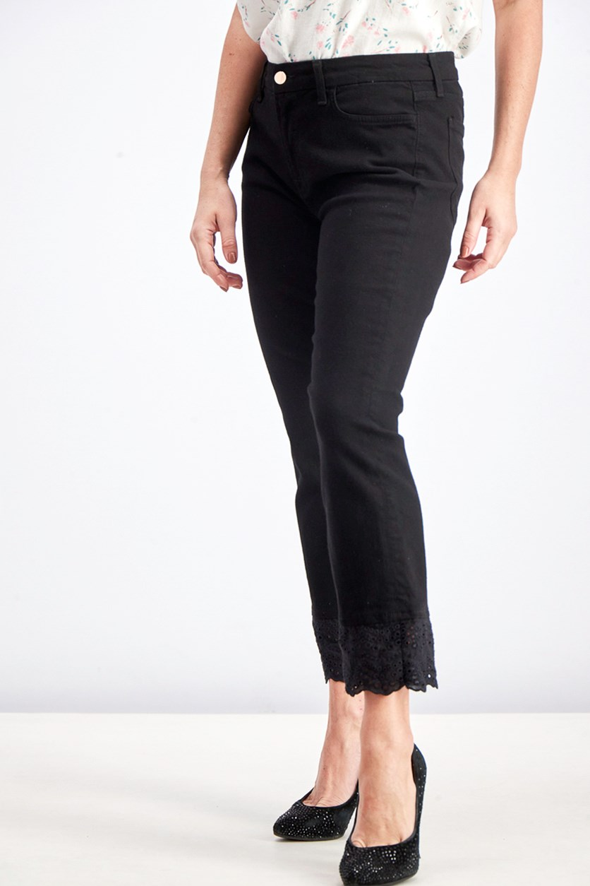 Women's Cropped Boot-Cut With Eyelet Embellished Jeans, Black