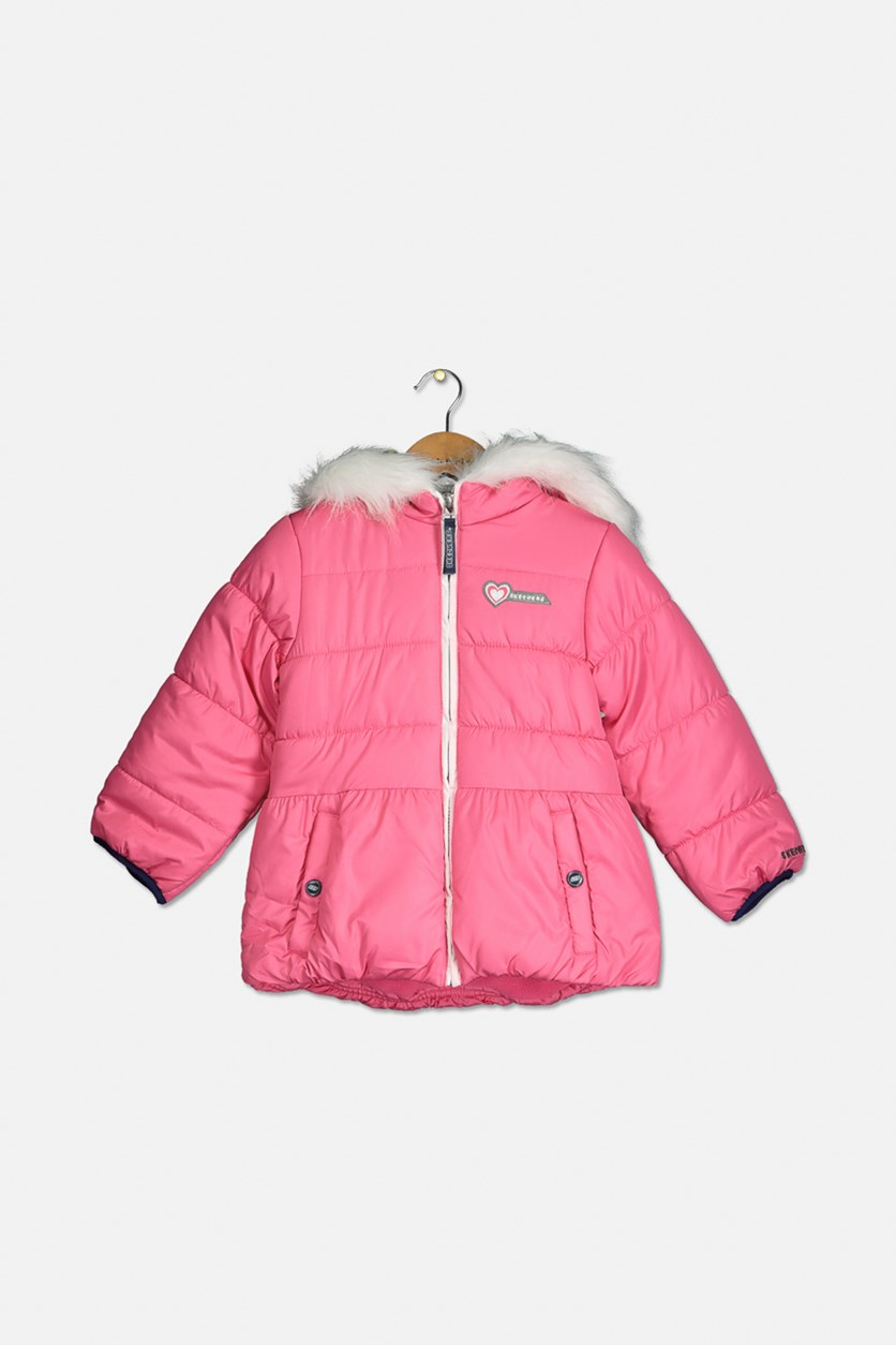 Little Girl's Hooded Fur Jacket, Pink