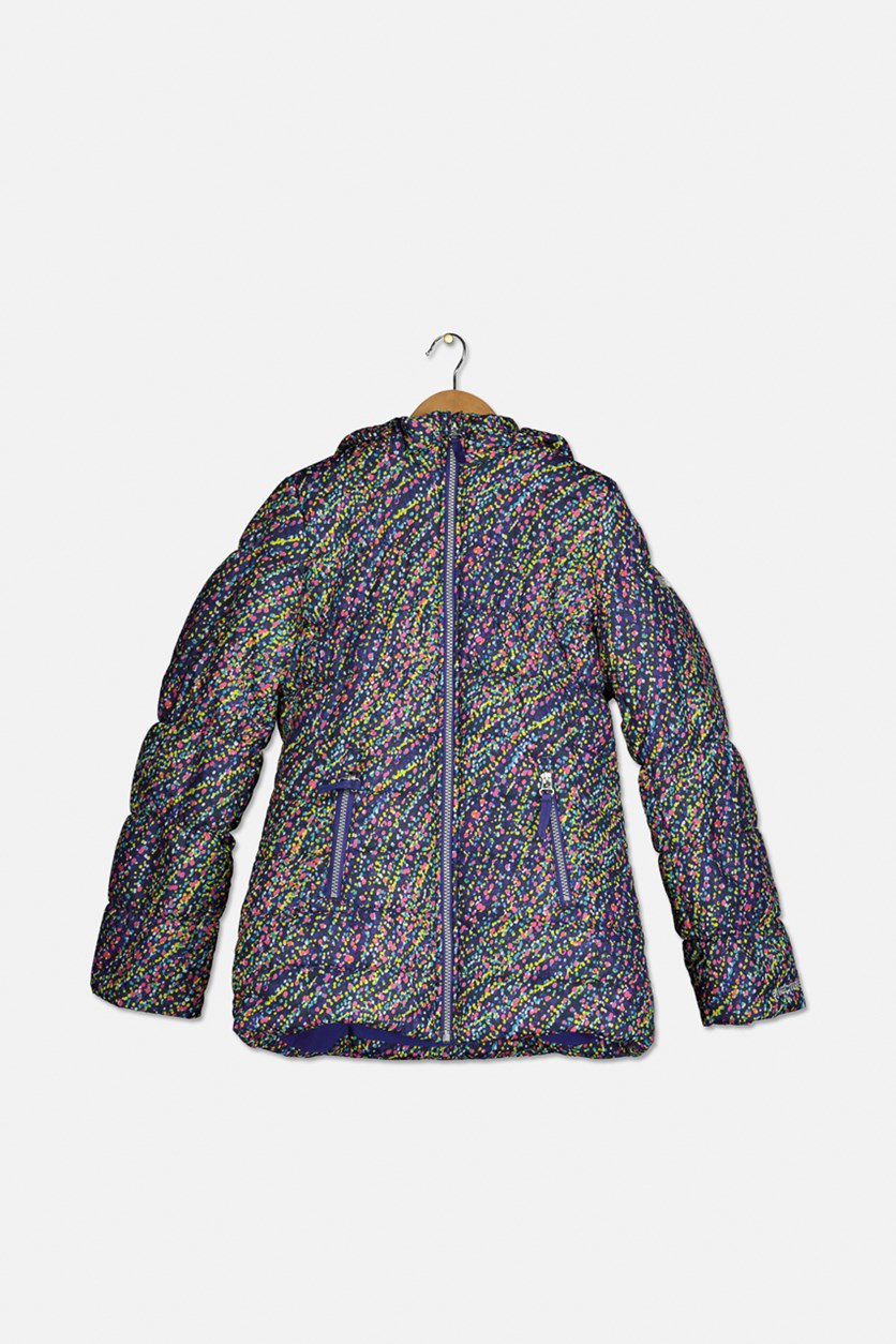 Girl's Hooded Jacket, Navy Combo