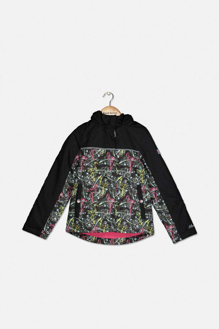 Girl's Hooded Jacket, Black Combo
