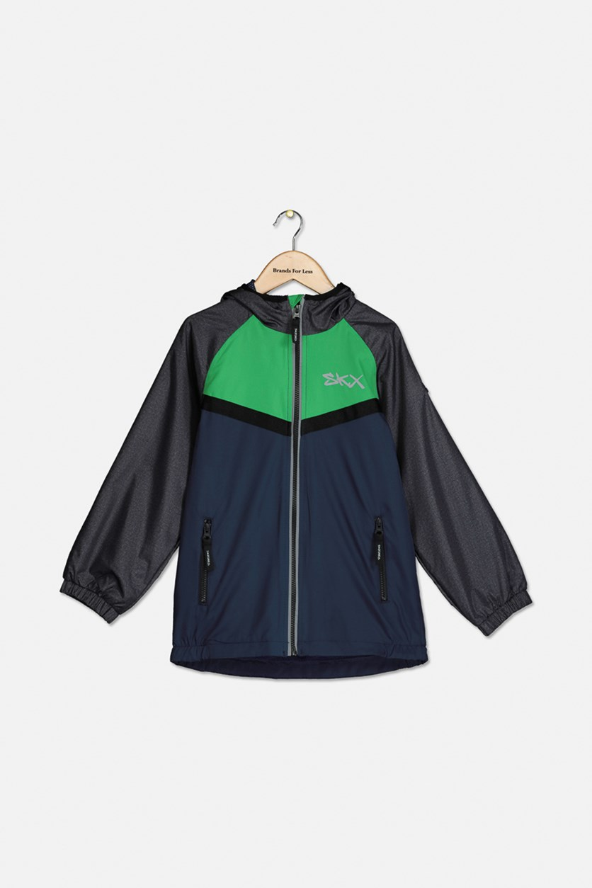 Boys' Mesh Lined Windbreaker Jacket, Green/Navy/Black