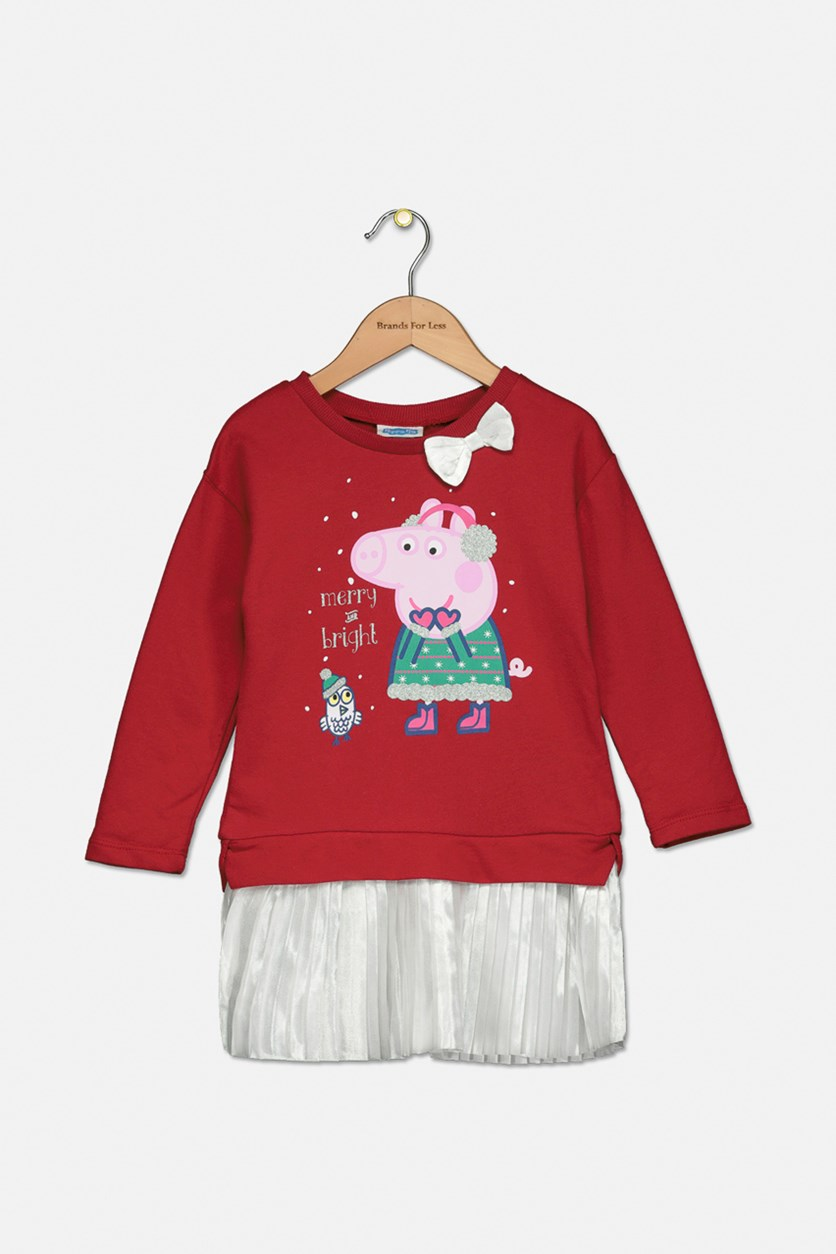 Toddler Girls Layered-Look Holiday Tutu Dress, Red