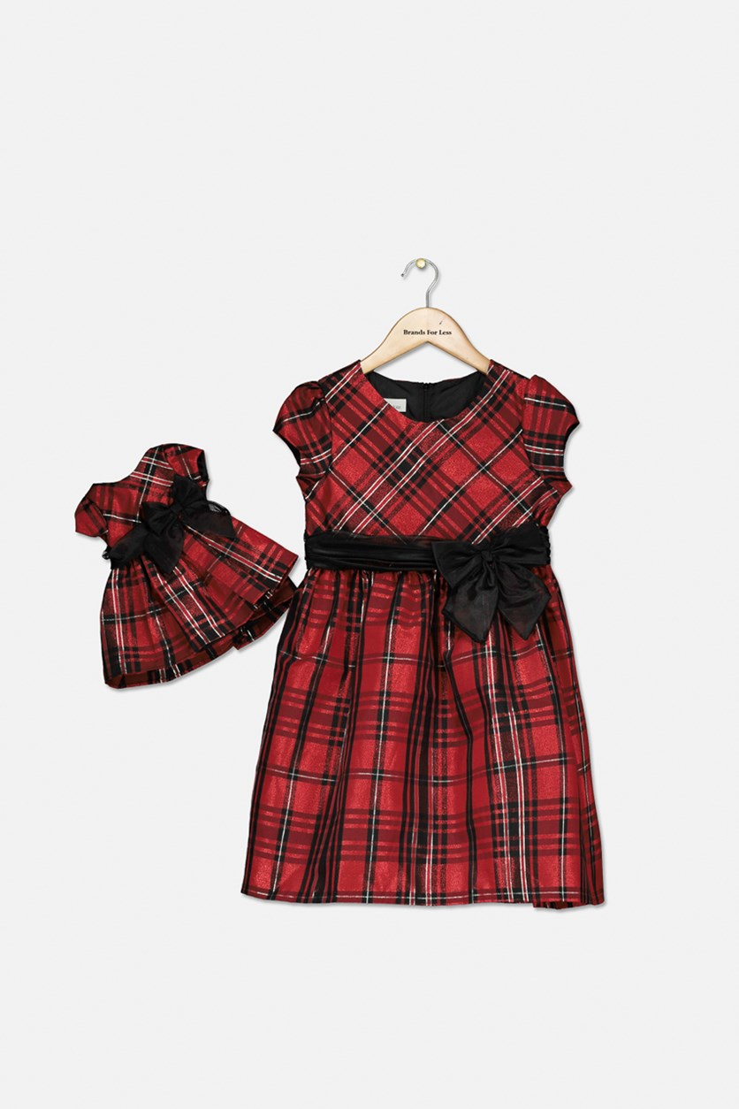 Girls 2-Pc. Plaid Dress & Doll Dress Set, Red