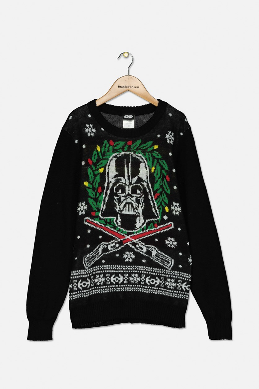 Big Boys Darth Vader Holiday Sweater, Black Combo
