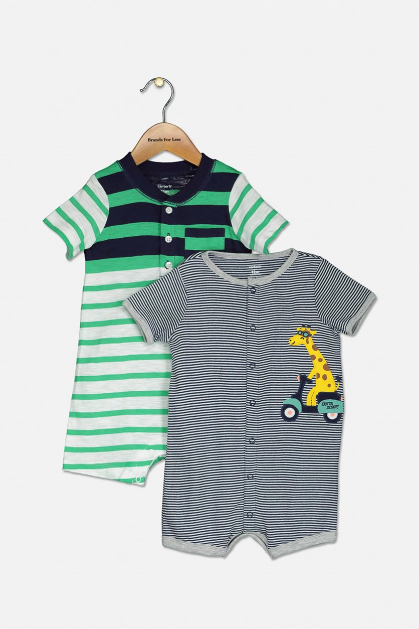 Toddlers And Babies  2pc Bodysuits, Navy/Green Combo