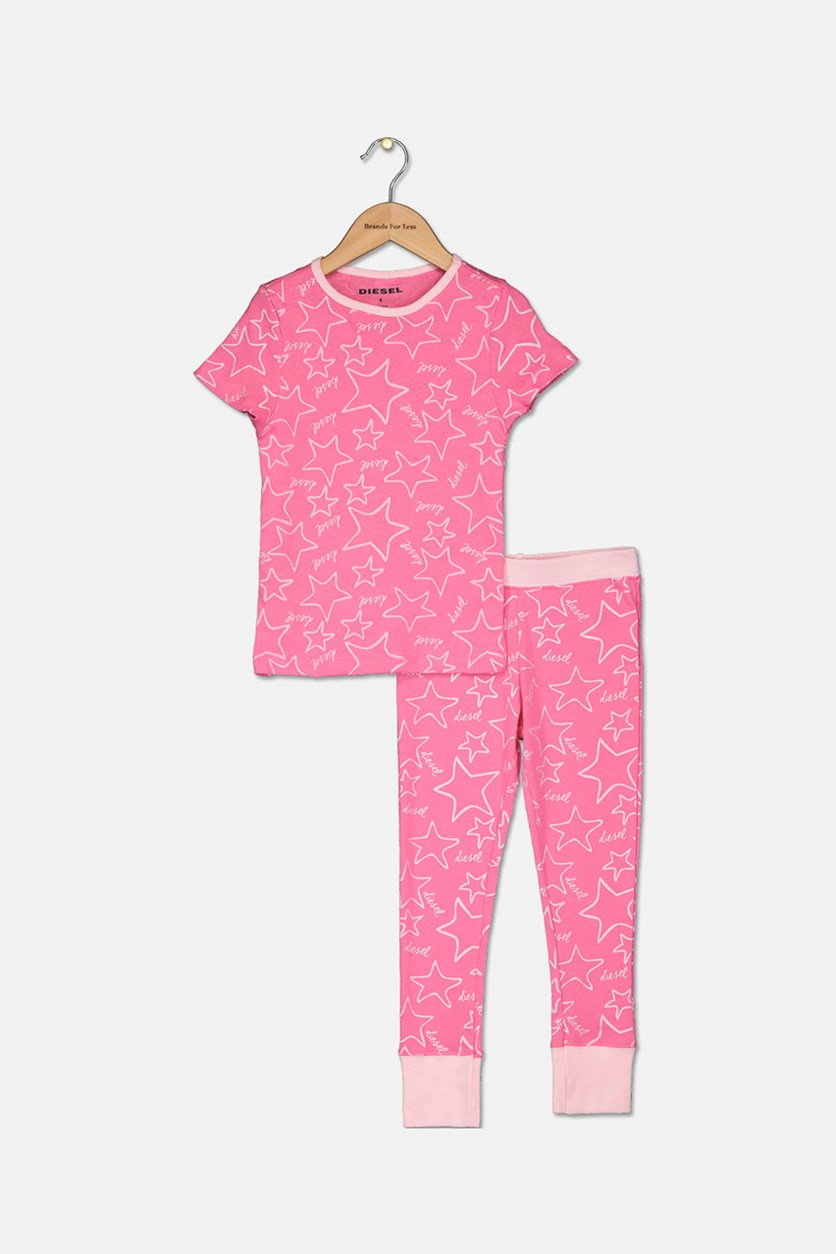 Girl's Graphic Print T-Shirt and Pant Sleepwear Set, Pink