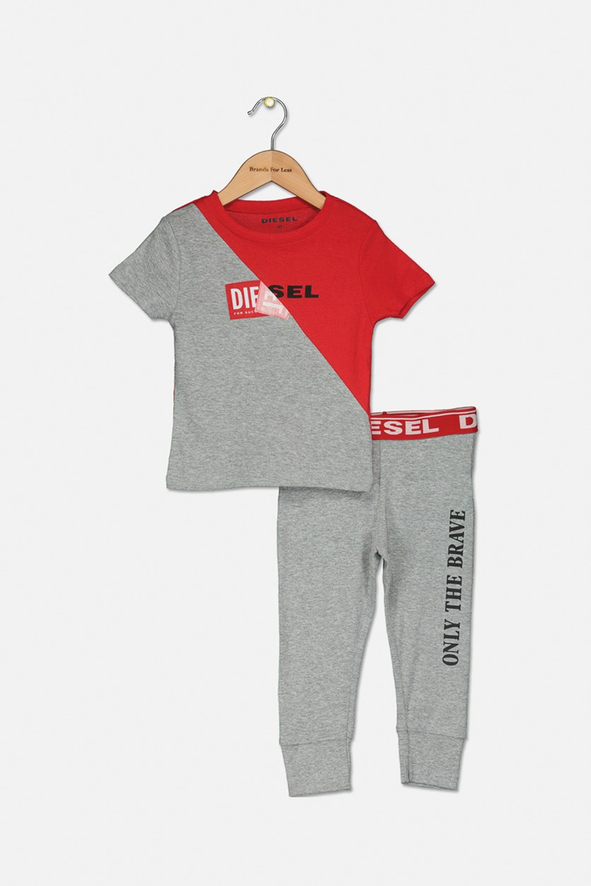 Toddler Boy's Graphic Print T-Shirt and Pant Sleepwear Set, Grey/Red