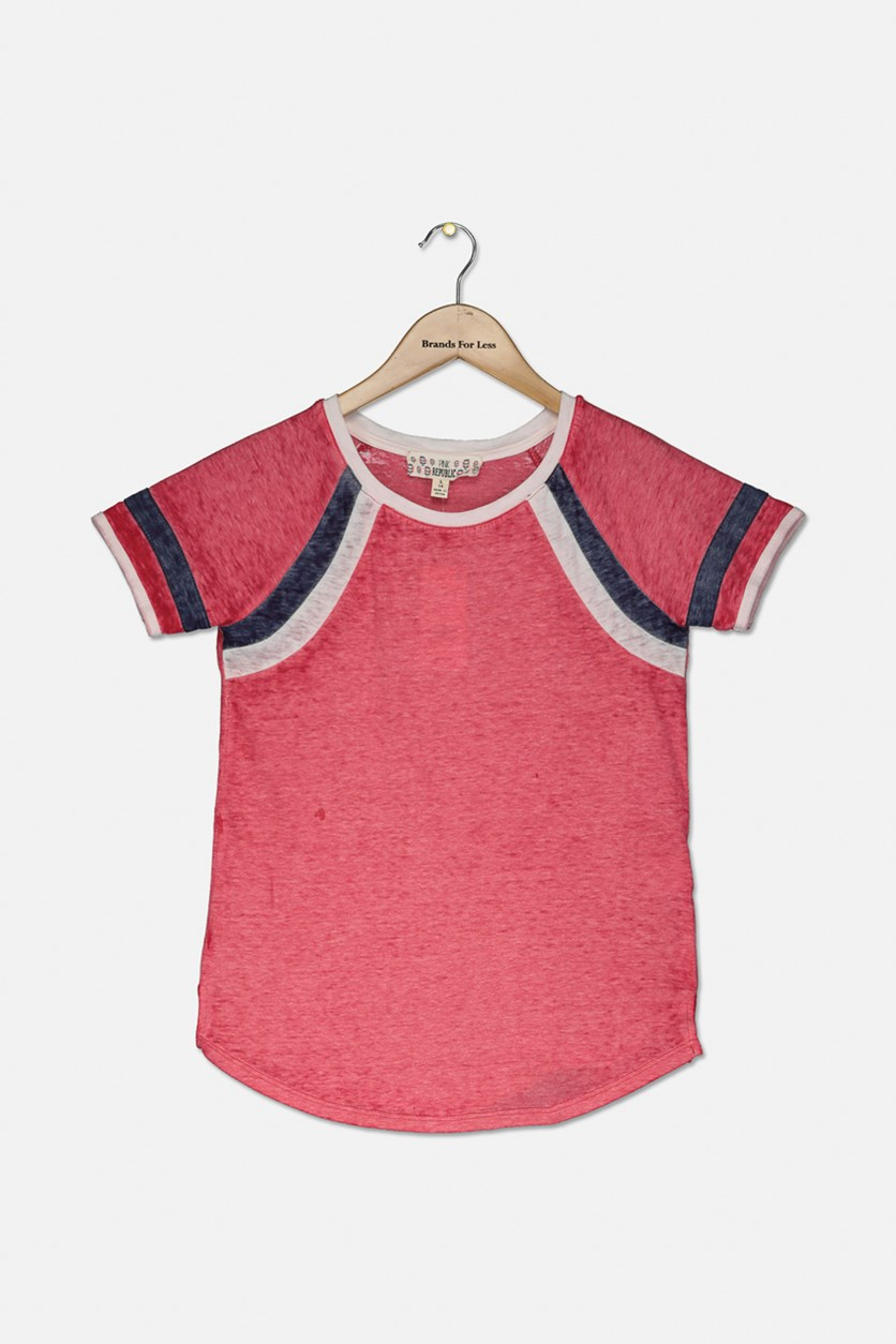 Big Girls Striped-Sleeve Raglan T-Shirt, Fuchsia