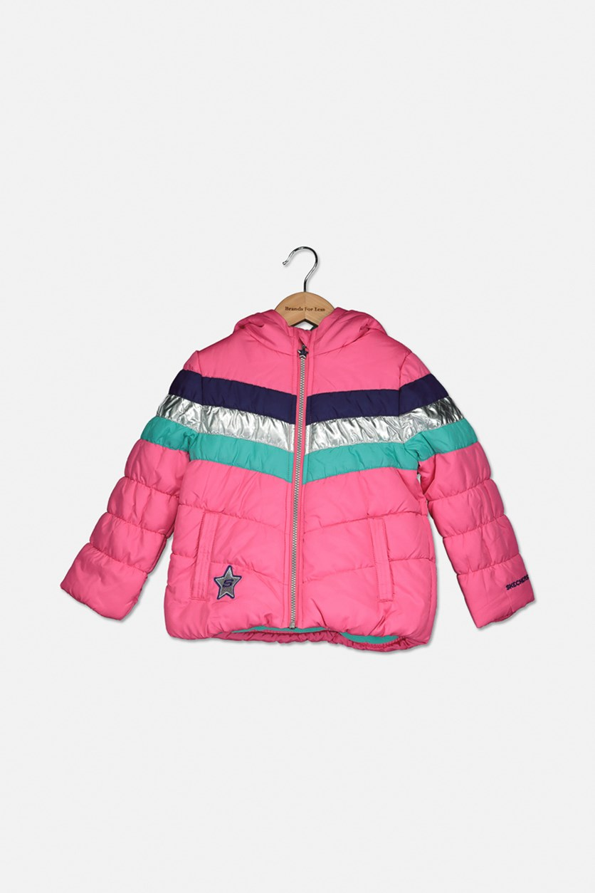 Toddler Girls Puffer Jacket, Pink Combo