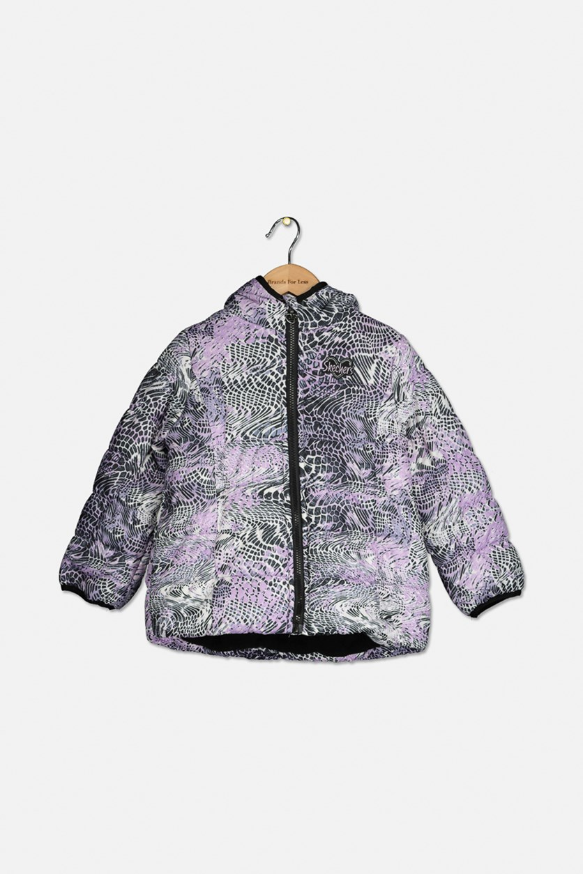 Little Girl's Hooded Jacket, Purple Combo