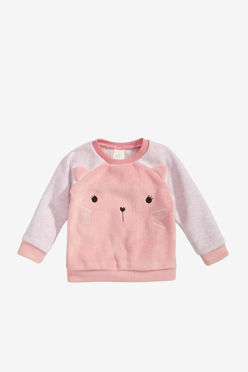 Baby Girls Minky Kitty Faux-Fur Sweatshirt, Pink