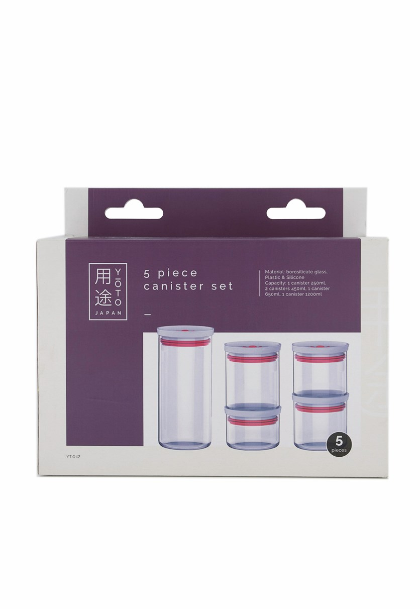 5-Piece Canister Set, Transparent/Red