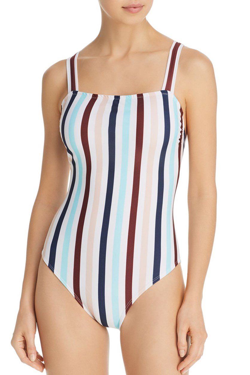 Square-Neck One-Piece Swimsuit, Brown/White